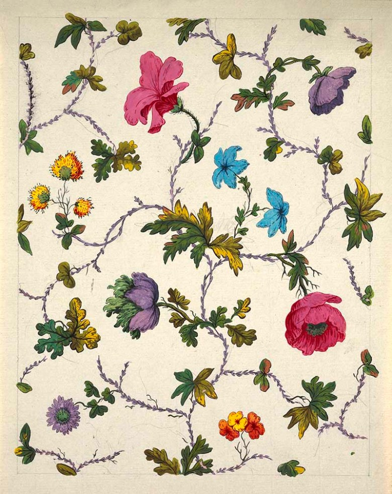 vintage poppies flora pattern