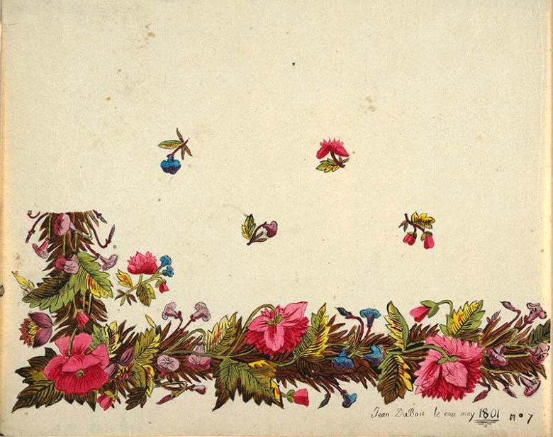 Floral border design, pink flowers, green and brown leaves
