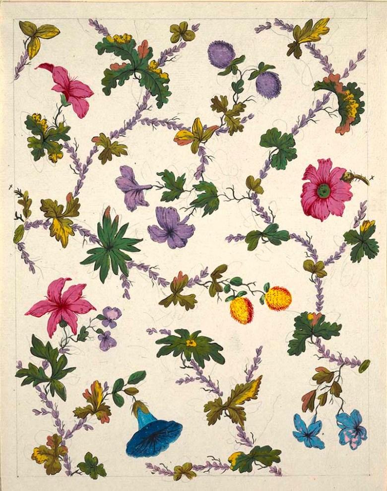 Intertwining pattern of pink, purple and blue flowers