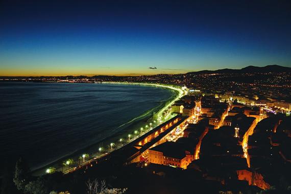 night coast cityscape