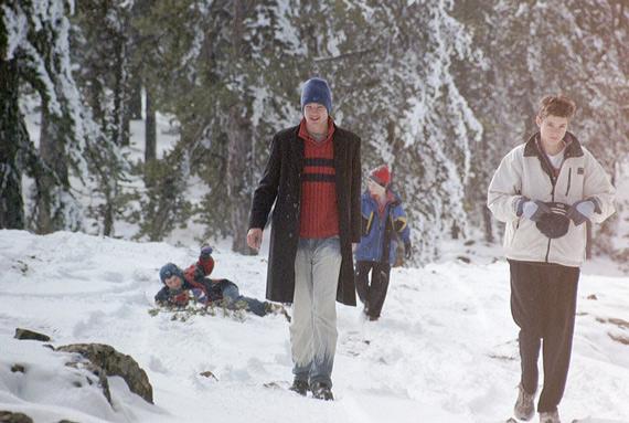 snowy family holiday photo