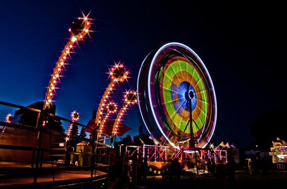 ferris wheel, carnival at night