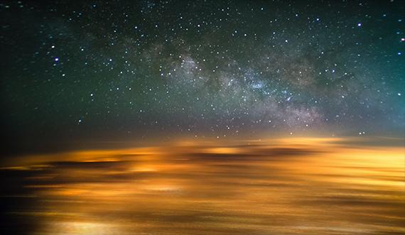 stars from airplane window