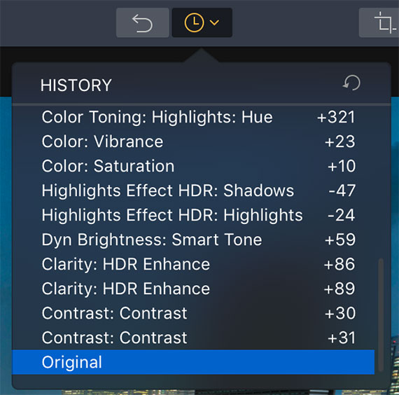 history drop-down menu