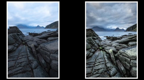 raw image before and after editing