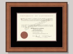 University of Canterbury Degree Frame.