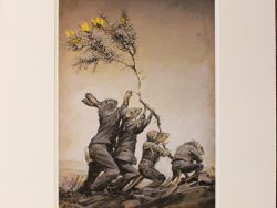 Raising The Flag Matted Print by Barry Ross Smith
