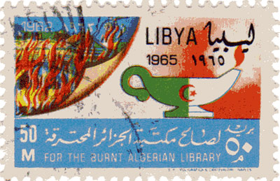 algerian burning library stamp, 1965