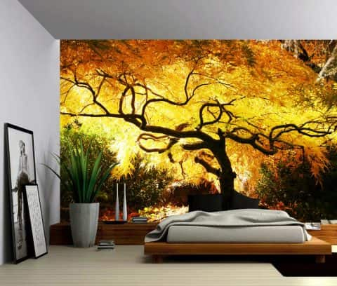 Landscape Foggy Spring Forest Self Adhesive Vinyl Wallpaper Peel Amp Stick Fabric Wall Decal