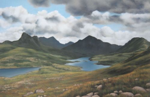 View from the Hill Lochs - Scotland Landscape Painting