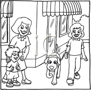 a black and white cartoon of a people walking in front of city shops royalty free clipart picture