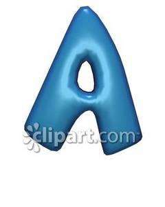 Blue Bubble Letter A Royalty Free Clipart Picture