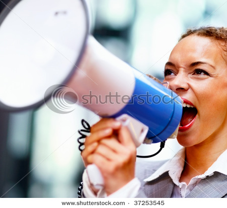 Image result for woman yelling in bullhorn