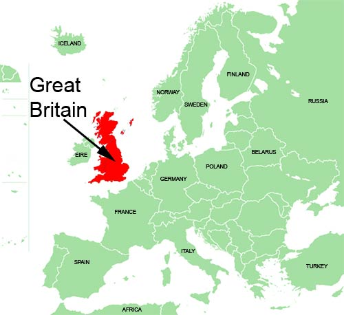 Map of Great Britain (in red) and mainland Europe. The British Isles
