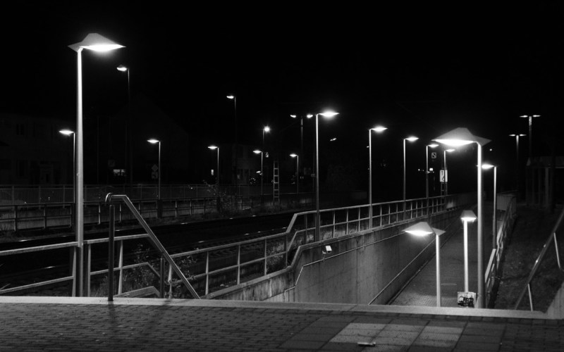 Pulheim main station at night