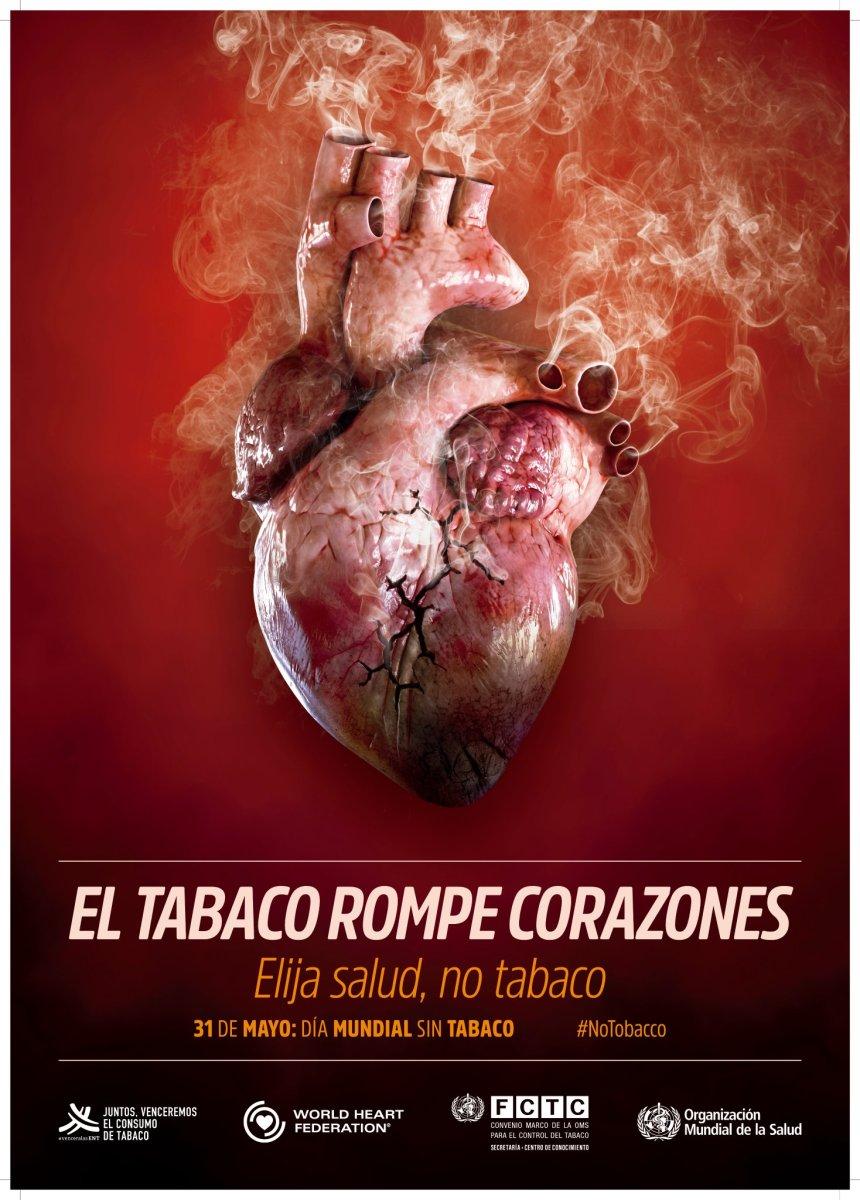 El tabaco, rompe corazones. 31 de mayo, Día Mundial sin tabaco