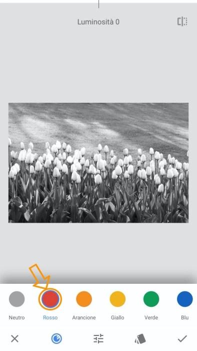 Fotografia in bianco e nero Snapseed filtro rosso
