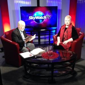 Gary Stearman and Sharon Gilbert on the set of SkyWatchTV