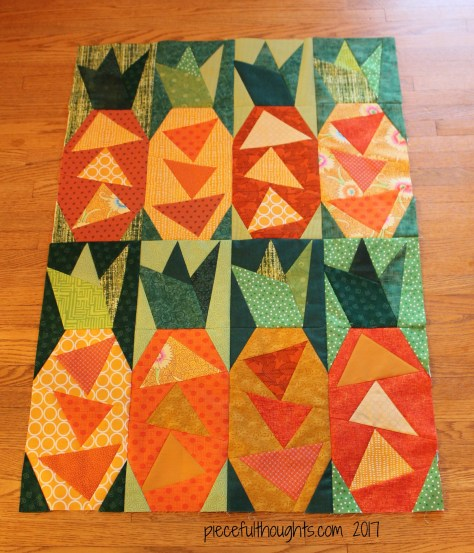 Pineapple Crush - Mini quilt - piecefulthoughts.com 2017
