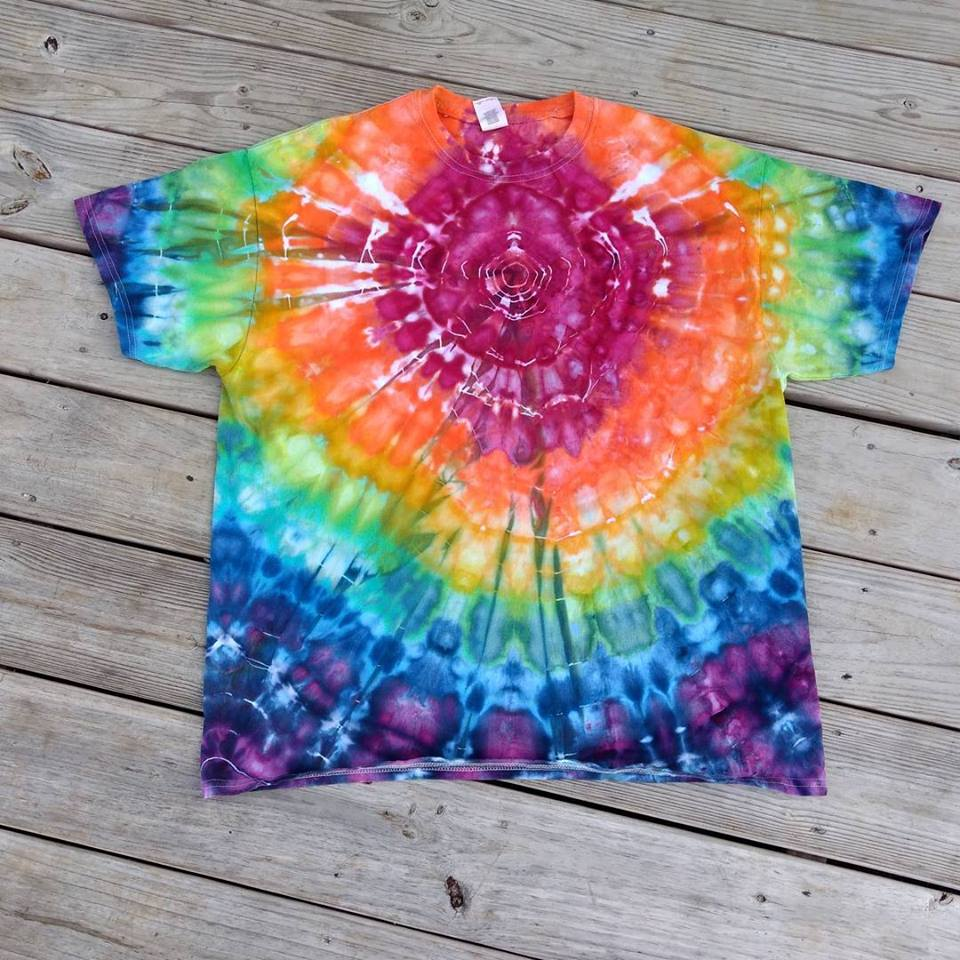 1571581ed06c XL Ice Dyed Rainbow Ripple T-shirt   Unisex Extra Large Tie dye ...