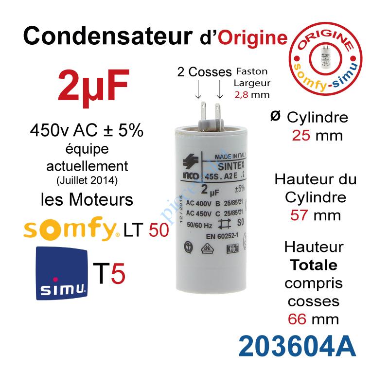 Inco 203604a Condensateur D Origine Pour Moteur Tubulaire Simu Ou Somfy A Cosses Faston 2 8 Mm Capacite 2µf 5 400 450v
