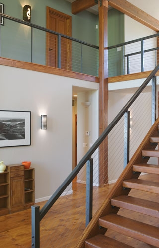 Piedmont Stairworks Interior Or Exterior Cable Railing | Wood And Wire Stair Railing | Before And After | Coastal | Natural Wood | Residential | Utility Panel