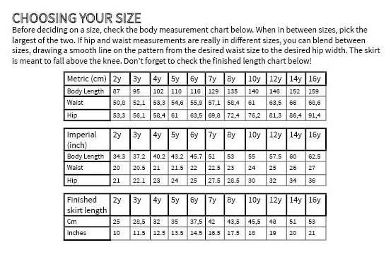 Dyyni skirt pattern by Pienkel. Size chart. www.pienkel.com
