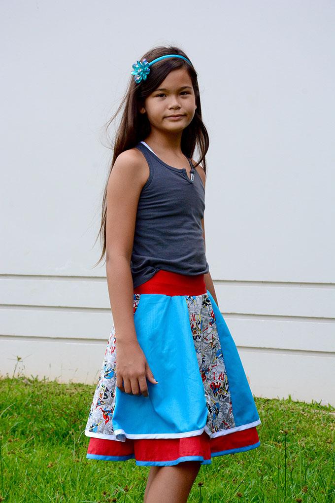 DYYNI skirt pattern, sz 2y-16y, designed by Pienkel. Sewn by Cindy. www.pienkel.com