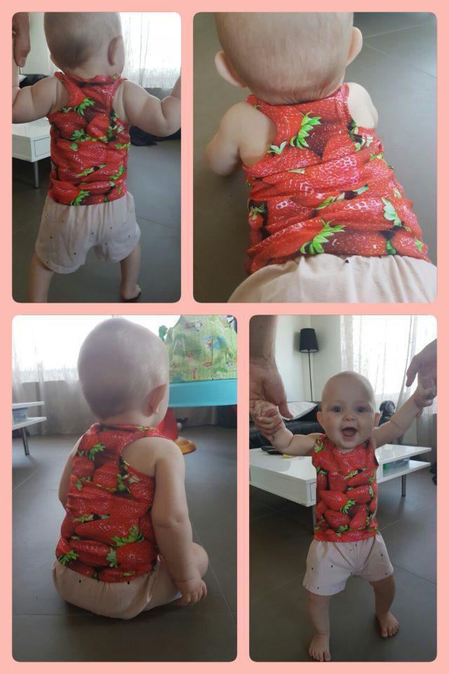 Free Fjara Baby Tank Top Pattern at www.pienkel.com, sewn by Annemieke