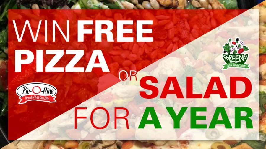 free pizza, free salad,