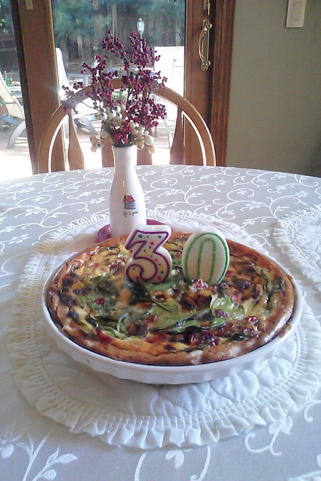 That's birthday quiche with candles in it. Nebraska in September.