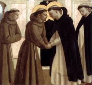 Historians differ as to whether or not Francis and Dominic met in person, but Fra Angelico thinks they did and his testimony is good enough for me.