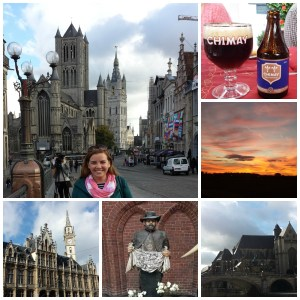 On a bridge in Ghent; Trappist-made beer; an atypical sunrise; a bridge over the river; my dear friend St. Damien, originally form Belgium; a typical Belgian building.