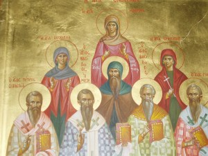 Case in point: the family of St. Basil. The Holy Family of St. Basil: (left to right, first row) St. Peter of Sebaste, St. Basil the Great, St. Basil, St. Gregory, (second row) St. Theosevia, St. Naukratios, St. Emmelia, (top) St. Macrina. (via)