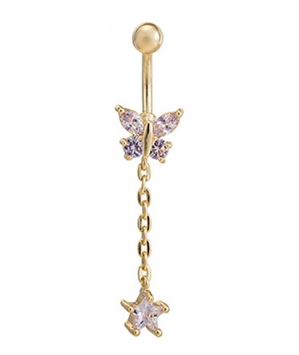 Fashion Göbek Piercing Butterfly With Star
