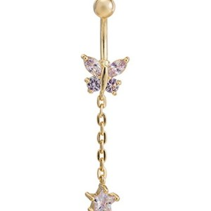 Fashion Göbek Piercing Butterfly With Star