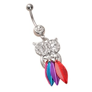 Fashion Göbek Piercing Colourful Owl