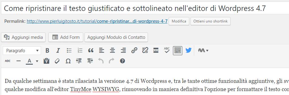 Editor WYSIWYG di Wordprss 4.7