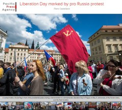 Pro Russia protest on Liberation Day in Prague