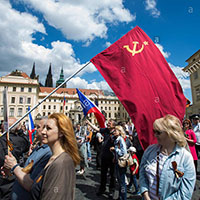 Pro Russia protest in Prague