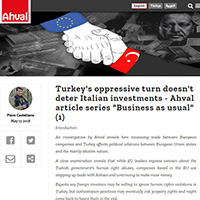 Turkey's oppressive turn doesn't deter Italian investments