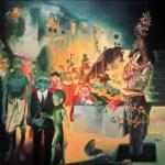 """Notte magica a Tellaro, 1983 (particolare """"La rana fumatrice"""" e intero) olio su tela, cm 200x 200 collezione privata"""