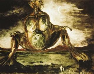 La donna rana - 1996 acrilico su cartone, cm 25 x 28 collezione privata, La Spezia