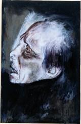 La malattia (vecchio ammalato), 2000 matite colorate e biacca su cartone preparato, cm 24x37,5 collezione dell'autore