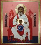 La Trinità, 1980 tempera all'uovo e tempera a colla su fondo oro zecchino su tavola, cm 200 x 180 collezione privata