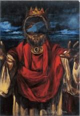 Il Re vuoto (la pazzia di Re Lear), 1999 acrilico su cartone, cm 14x20 collezione privata