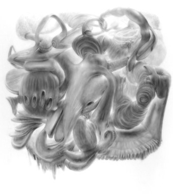 """Vumb,"" 2010, powdered graphite on mylar, 55 x 55 inches."