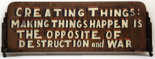 Creating Things - 2011, enamel on found material, 57 x 19.5 x 1 inches