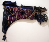 The Golem Will Save America - 2011, enamel on found material (metal), approx. 38 x 30 x 3 inches