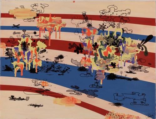 """Jane Fine - """"Future 86,"""" 2011, acrylic and ink on paper, 22 x 30 inches"""